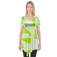 Green Abstract Design Short Sleeve Tunic