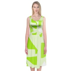 Green Abstract Design Midi Sleeveless Dress