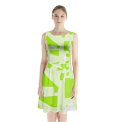 Green Abstract Design Sleeveless Waist Tie Dress