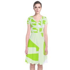 Green Abstract Design Short Sleeve Front Wrap Dress