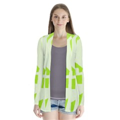 Green abstract design Drape Collar Cardigan