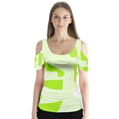 Green abstract design Butterfly Sleeve Cutout Tee