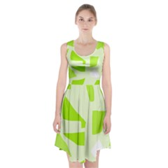 Green Abstract Design Racerback Midi Dress