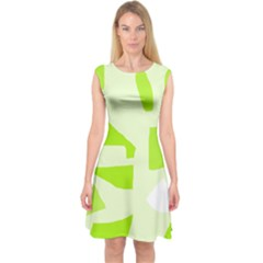 Green abstract design Capsleeve Midi Dress