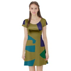 Colorful abstraction Short Sleeve Skater Dress