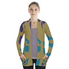 Colorful Abstraction Women s Open Front Pockets Cardigan(p194)