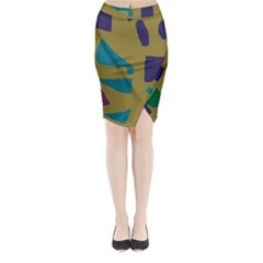 Colorful abstraction Midi Wrap Pencil Skirt