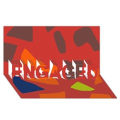 Red abstraction ENGAGED 3D Greeting Card (8x4)