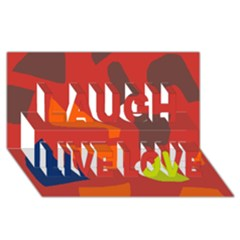 Red abstraction Laugh Live Love 3D Greeting Card (8x4)