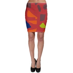Red abstraction Bodycon Skirt
