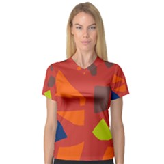 Red abstraction Women s V-Neck Sport Mesh Tee
