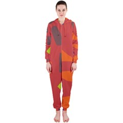 Red abstraction Hooded Jumpsuit (Ladies)