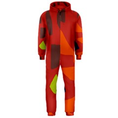 Red abstraction Hooded Jumpsuit (Men)