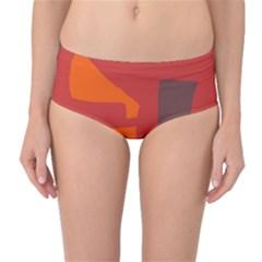 Red abstraction Mid-Waist Bikini Bottoms