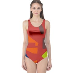 Red abstraction One Piece Swimsuit