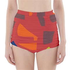 Red Abstraction High Waisted Bikini Bottoms
