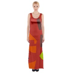 Red abstraction Maxi Thigh Split Dress