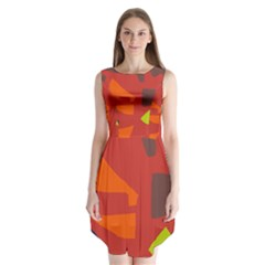 Red abstraction Sleeveless Chiffon Dress