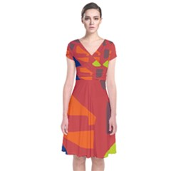 Red abstraction Short Sleeve Front Wrap Dress