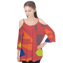 Red abstraction Flutter Tees