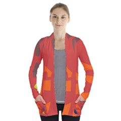 Red abstraction Women s Open Front Pockets Cardigan(P194)