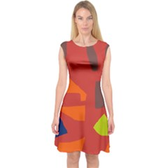 Red Abstraction Capsleeve Midi Dress