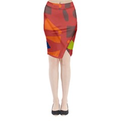 Red abstraction Midi Wrap Pencil Skirt