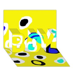 Yellow abstract pattern BOY 3D Greeting Card (7x5)