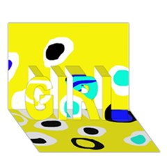Yellow abstract pattern GIRL 3D Greeting Card (7x5)