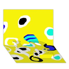 Yellow abstract pattern LOVE Bottom 3D Greeting Card (7x5)