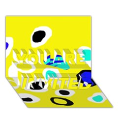 Yellow Abstract Pattern You Are Invited 3d Greeting Card (7x5)