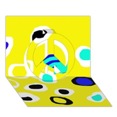 Yellow abstract pattern Peace Sign 3D Greeting Card (7x5)