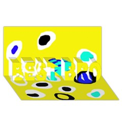 Yellow abstract pattern BEST BRO 3D Greeting Card (8x4)