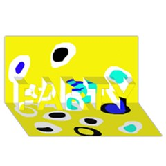 Yellow abstract pattern PARTY 3D Greeting Card (8x4)