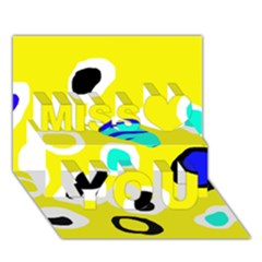 Yellow abstract pattern Miss You 3D Greeting Card (7x5)