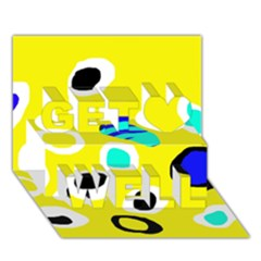 Yellow abstract pattern Get Well 3D Greeting Card (7x5)