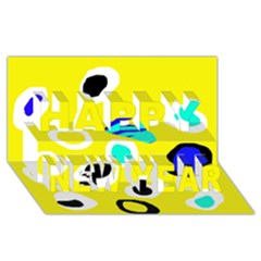 Yellow abstract pattern Happy New Year 3D Greeting Card (8x4)