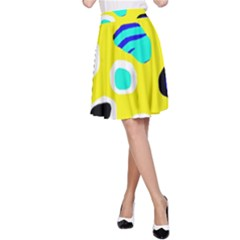 Yellow abstract pattern A-Line Skirt