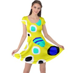 Yellow abstract pattern Cap Sleeve Dresses