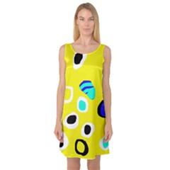 Yellow abstract pattern Sleeveless Satin Nightdress