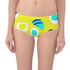 Yellow abstract pattern Mid-Waist Bikini Bottoms