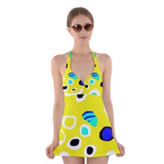 Yellow abstract pattern Halter Swimsuit Dress