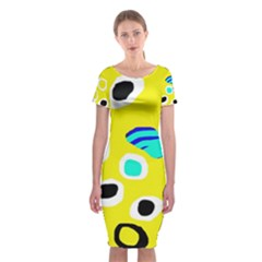 Yellow abstract pattern Classic Short Sleeve Midi Dress