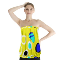 Yellow abstract pattern Strapless Top
