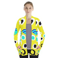 Yellow Abstract Pattern Women s Open Front Pockets Cardigan(p194)