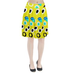 Yellow abstract pattern Pleated Skirt