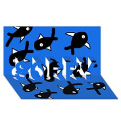Cute fishes SORRY 3D Greeting Card (8x4)