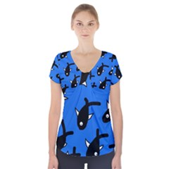 Cute fishes Short Sleeve Front Detail Top