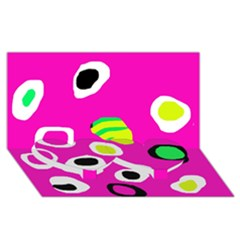 Pink abstract pattern Twin Heart Bottom 3D Greeting Card (8x4)
