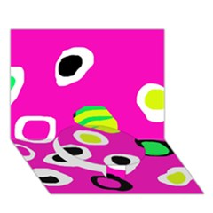 Pink abstract pattern Circle Bottom 3D Greeting Card (7x5)